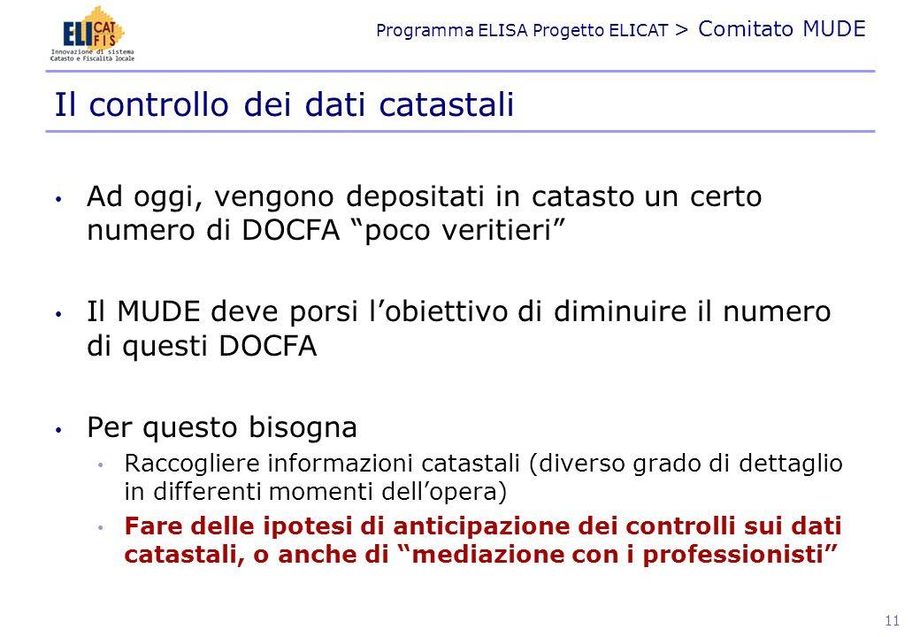 Programma ELISA Progetto ELICAT > Comitato MUDE Il rapporto con i Professionisti Il classamento proposto allegato alla domanda del certificato di agibilità da redigersi entro 15gg dalla fine lavori (art.