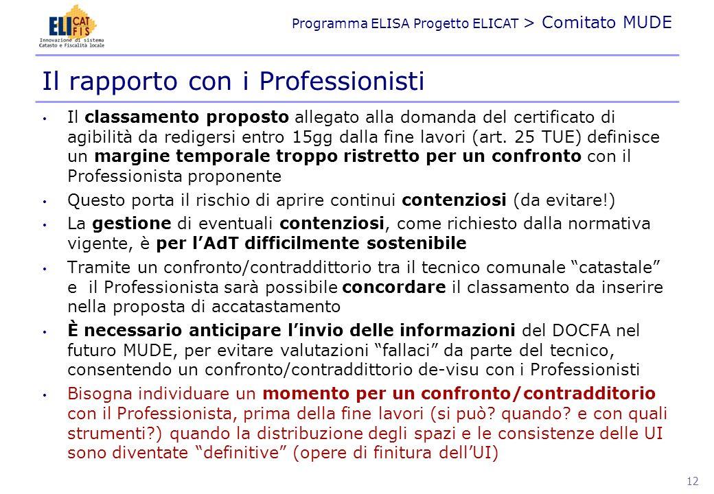 Programma ELISA Progetto ELICAT > Comitato MUDE I DATI DEL MUDE 13
