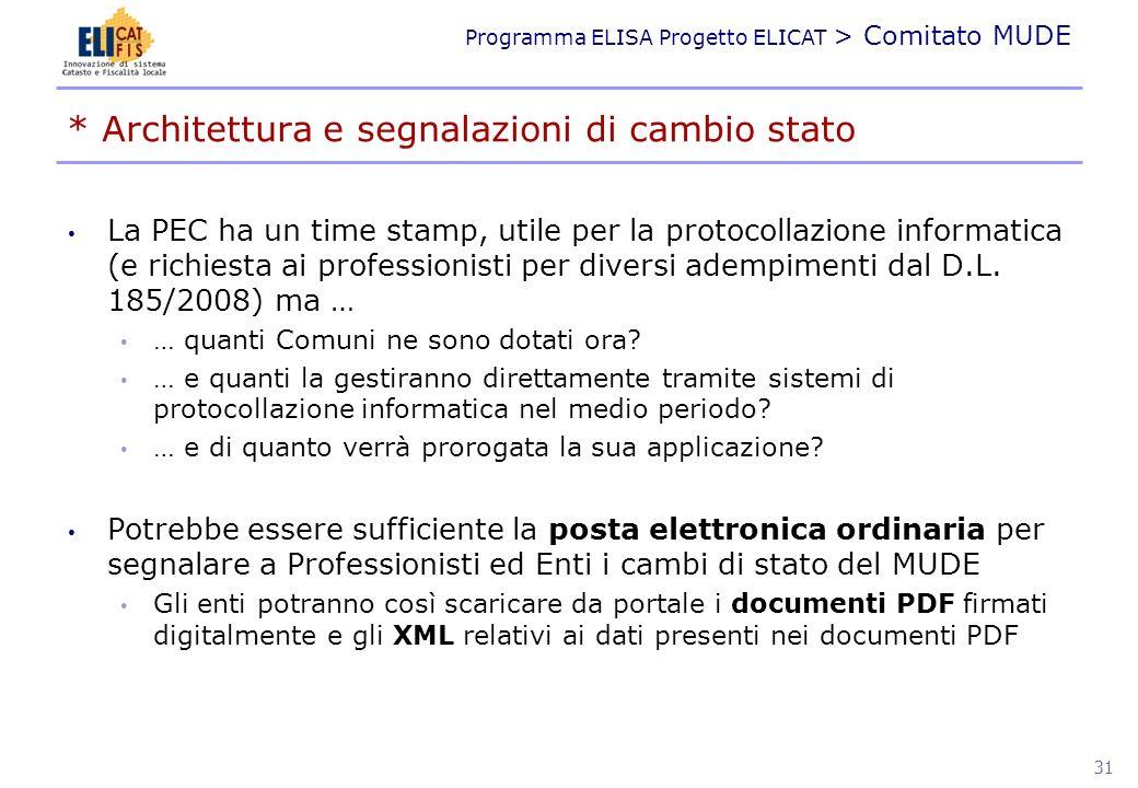 Programma ELISA Progetto ELICAT > Comitato MUDE PROGRESSIVITÀ 32
