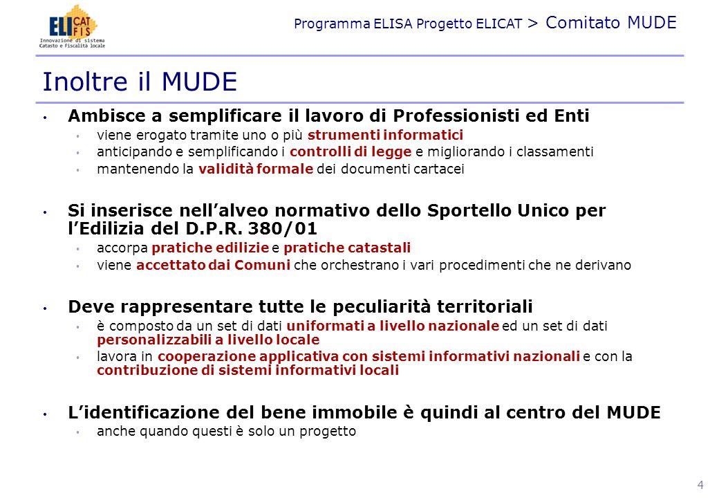 Programma ELISA Progetto ELICAT > Comitato MUDE ASPETTI NORMATIVI 5