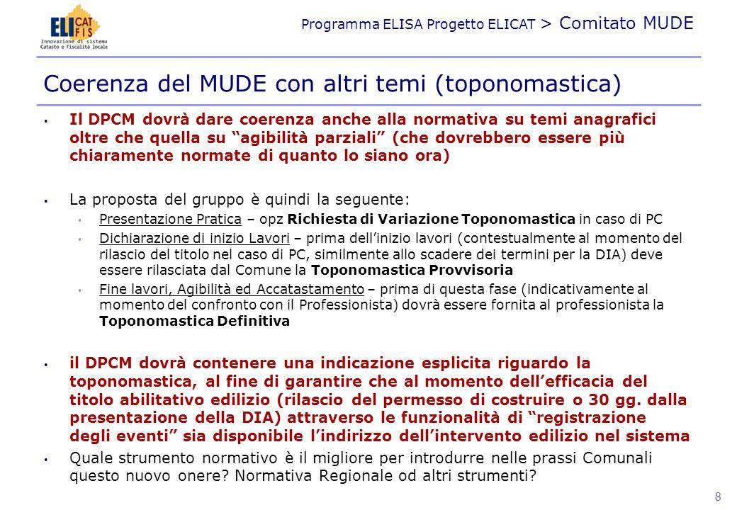 Programma ELISA Progetto ELICAT > Comitato MUDE Il MUDE dovrà essere Firmato Digitalmente.
