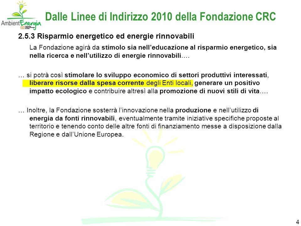 4 Dalle Linee di Indirizzo 2010 della Fondazione CRC 2.5.3 Risparmio energetico ed energie rinnovabili La Fondazione agirà da stimolo sia nelleducazione al risparmio energetico, sia nella ricerca e nellutilizzo di energie rinnovabili….