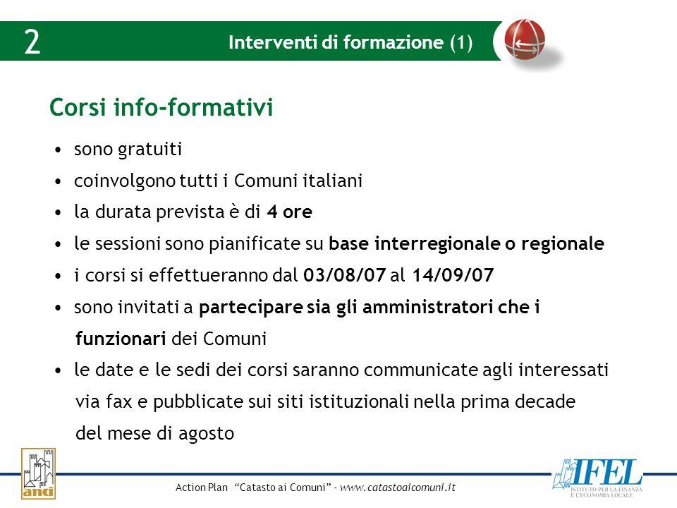 Action Plan Catasto ai Comuni - www.catastoaicomuni.it Quote dellimpegno pubblico Interventi di formazione (1) 2 Corsi info-formativi sono gratuiti co