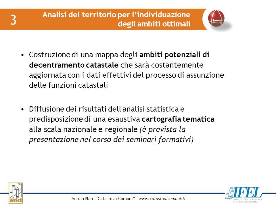 Action Plan Catasto ai Comuni - www.catastoaicomuni.it Analisi del territorio per lindividuazione degli ambiti ottimali 3 Costruzione di una mappa deg