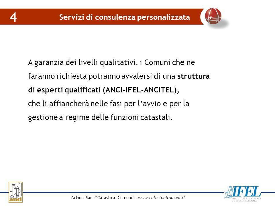 Action Plan Catasto ai Comuni - www.catastoaicomuni.it La crescita degli affitti nel 2004 Servizi di consulenza personalizzata 4 A garanzia dei livell
