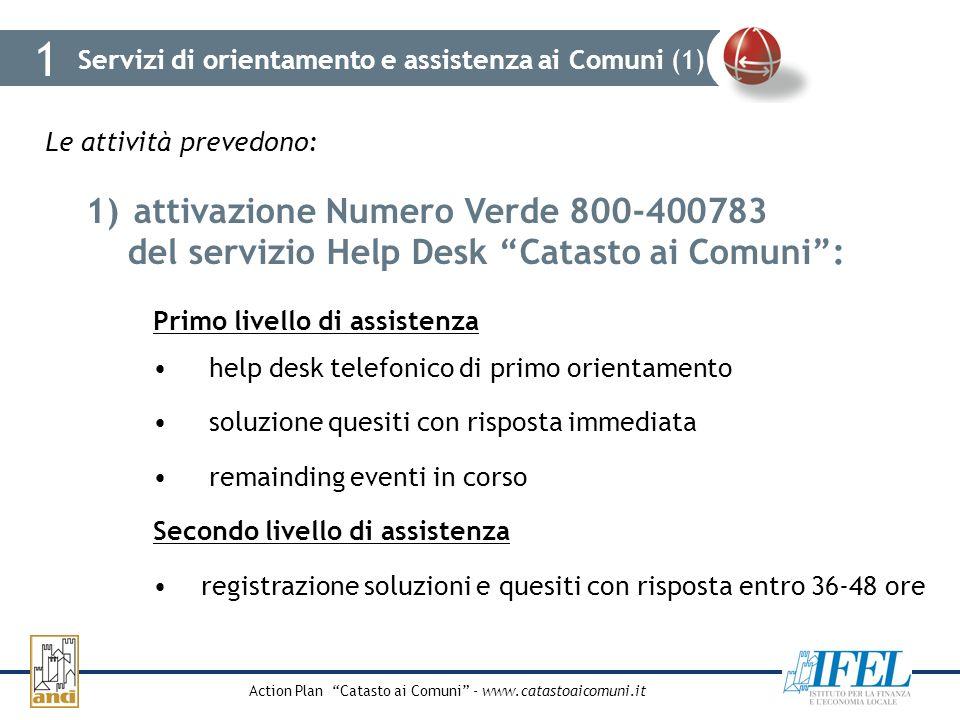 Action Plan Catasto ai Comuni - www.catastoaicomuni.it Servizi di orientamento e assistenza ai Comuni (1) 1 Le attività prevedono: 1)attivazione Numer