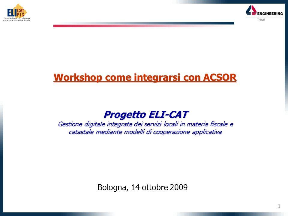 1 Workshop come integrarsi con ACSOR Progetto ELI-CAT Gestione digitale integrata dei servizi locali in materia fiscale e catastale mediante modelli di cooperazione applicativa Bologna, 14 ottobre 2009