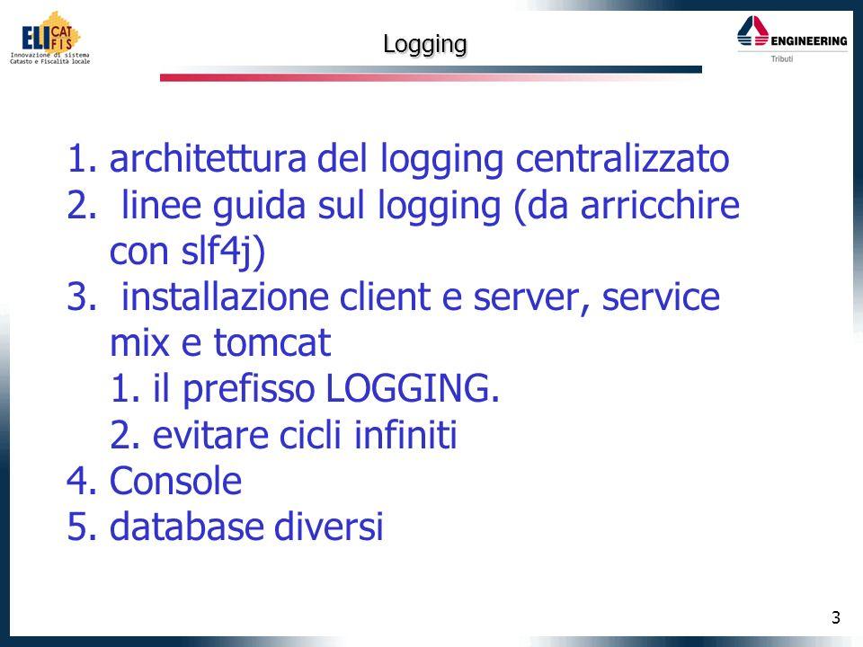 3 Logging 1.architettura del logging centralizzato 2.