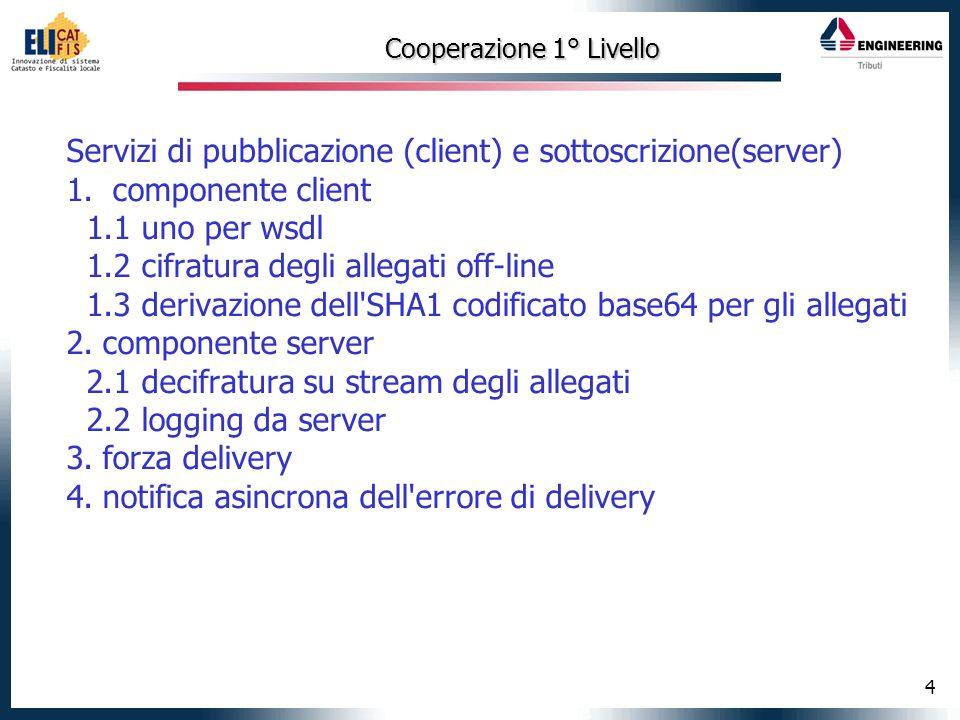 4 Cooperazione 1° Livello Servizi di pubblicazione (client) e sottoscrizione(server) 1.