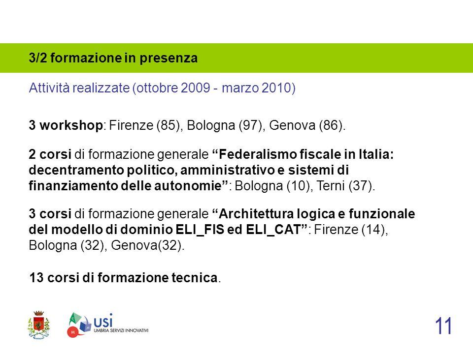 3/2 formazione in presenza 3 workshop: Firenze (85), Bologna (97), Genova (86).