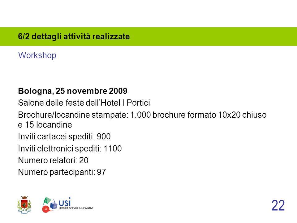 6/2 dettagli attività realizzate Bologna, 25 novembre 2009 Salone delle feste dellHotel I Portici Brochure/locandine stampate: 1.000 brochure formato 10x20 chiuso e 15 locandine Inviti cartacei spediti: 900 Inviti elettronici spediti: 1100 Numero relatori: 20 Numero partecipanti: 97 22 Workshop