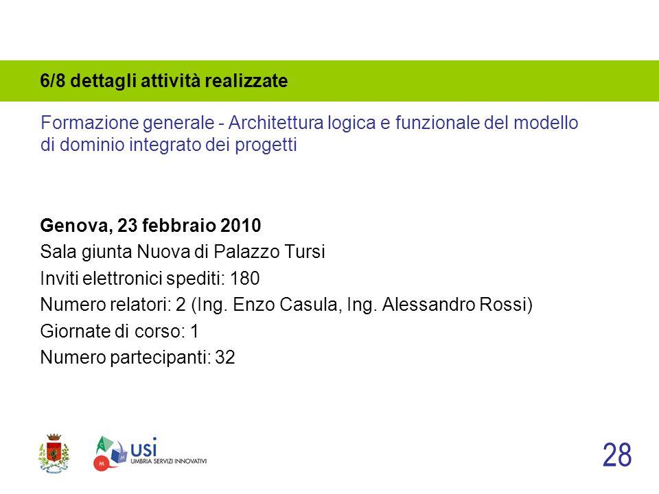 6/8 dettagli attività realizzate Genova, 23 febbraio 2010 Sala giunta Nuova di Palazzo Tursi Inviti elettronici spediti: 180 Numero relatori: 2 (Ing.