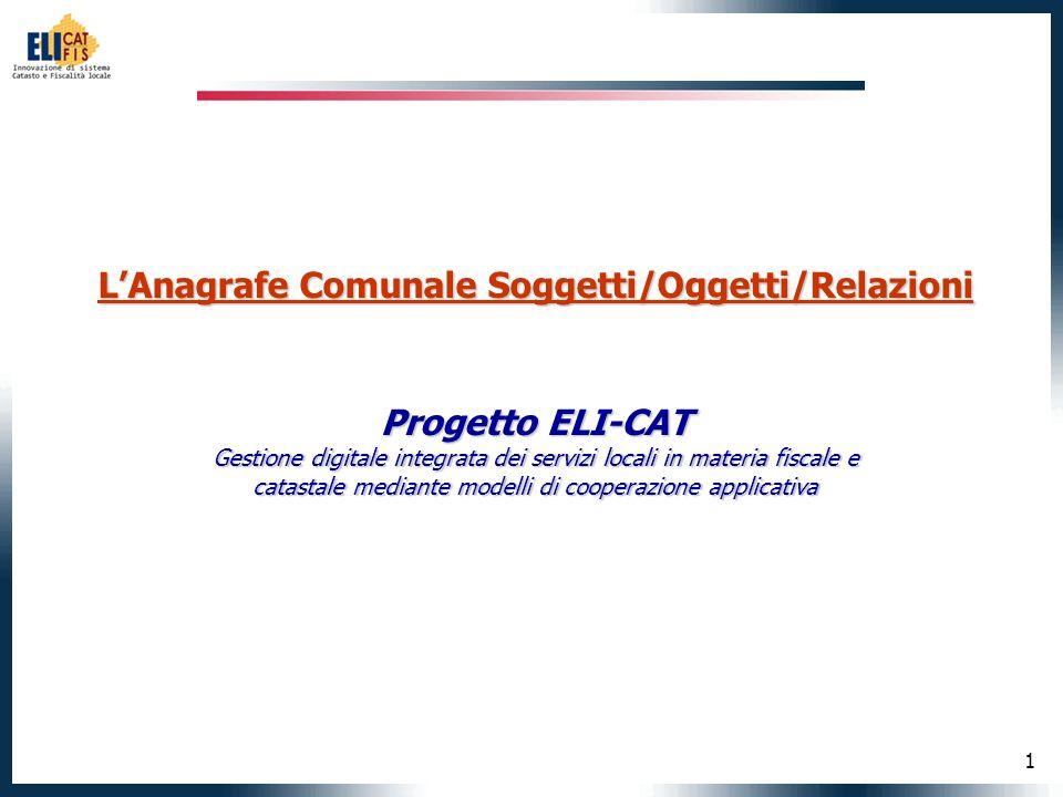 1 LAnagrafe Comunale Soggetti/Oggetti/Relazioni Progetto ELI-CAT Gestione digitale integrata dei servizi locali in materia fiscale e catastale mediante modelli di cooperazione applicativa