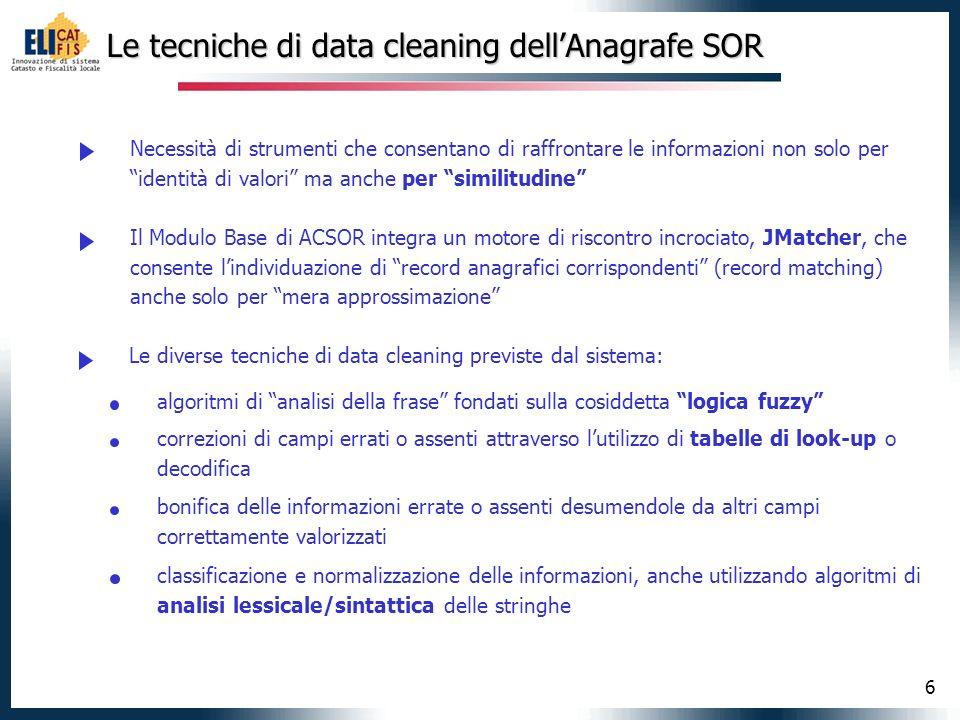6 Le tecniche di data cleaning dellAnagrafe SOR Necessità di strumenti che consentano di raffrontare le informazioni non solo per identità di valori m
