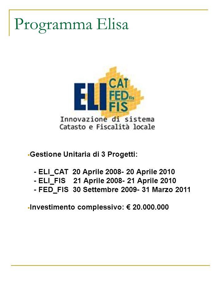 Programma Elisa Gestione Unitaria di 3 Progetti: - ELI_CAT 20 Aprile 2008- 20 Aprile 2010 - ELI_FIS 21 Aprile 2008- 21 Aprile 2010 - FED_FIS 30 Settem