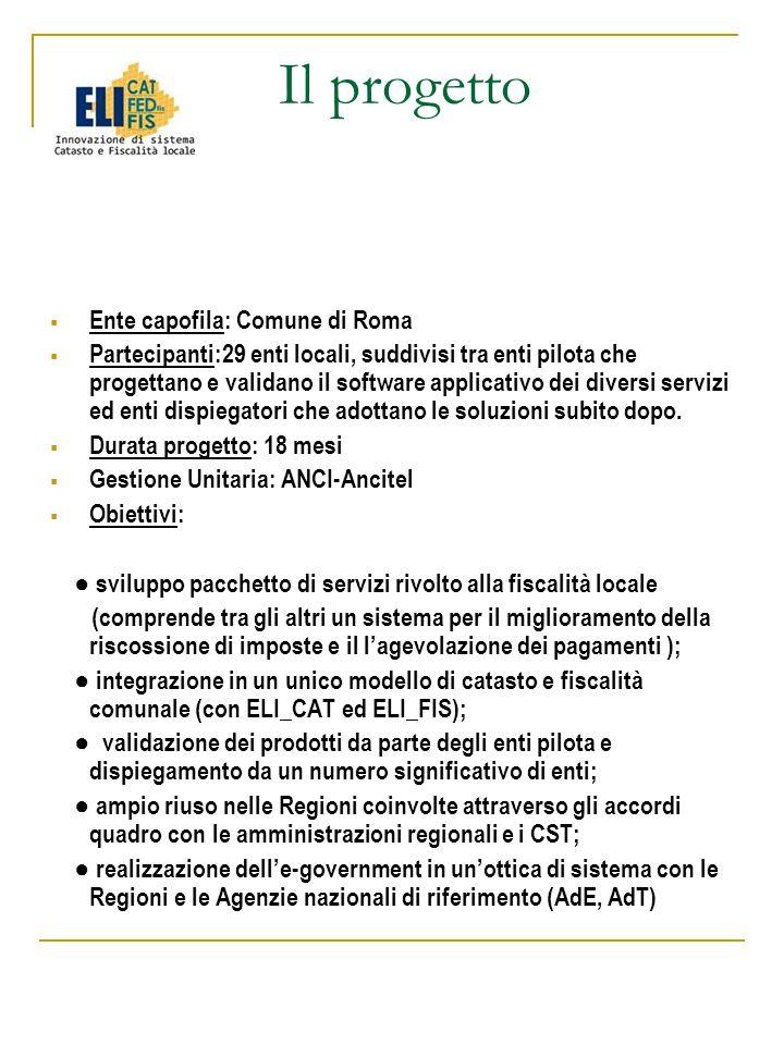 Il progetto Ente capofila: Comune di Roma Partecipanti:29 enti locali, suddivisi tra enti pilota che progettano e validano il software applicativo dei