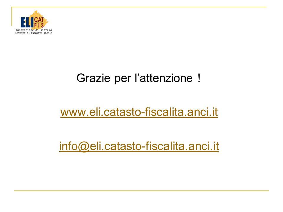 Grazie per lattenzione ! www.eli.catasto-fiscalita.anci.it info@eli.catasto-fiscalita.anci.it