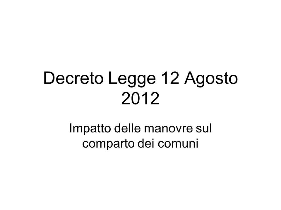 Decreto Legge 12 Agosto 2012 Impatto delle manovre sul comparto dei comuni