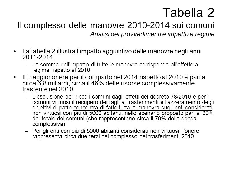Tabella 2 Il complesso delle manovre 2010-2014 sui comuni Analisi dei provvedimenti e impatto a regime La tabella 2 illustra limpatto aggiuntivo delle