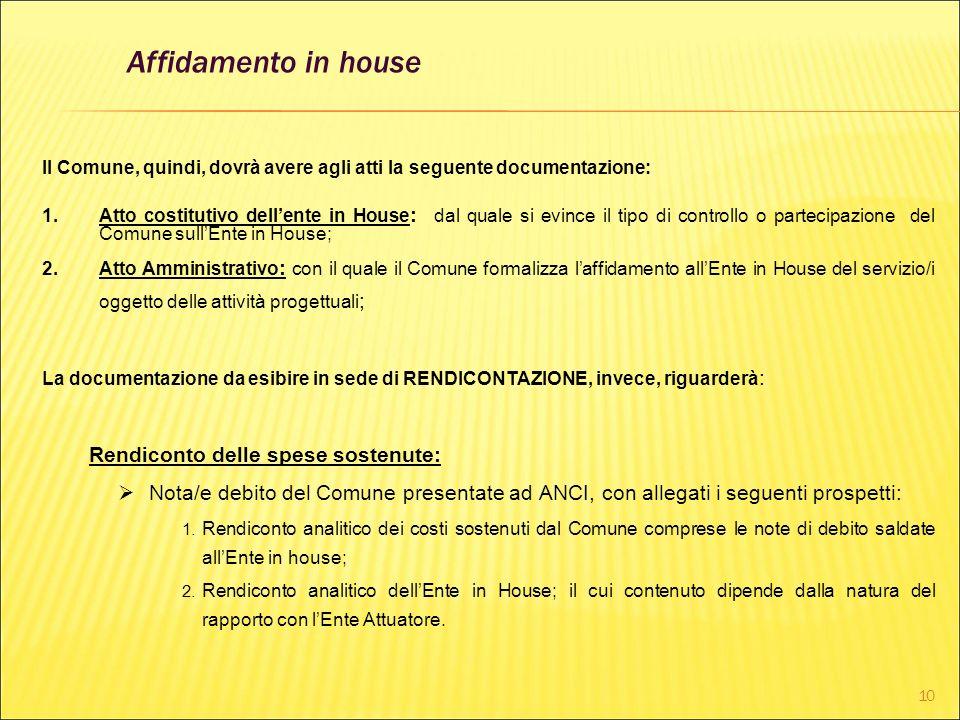 10 Il Comune, quindi, dovrà avere agli atti la seguente documentazione: 1.Atto costitutivo dellente in House : dal quale si evince il tipo di controll