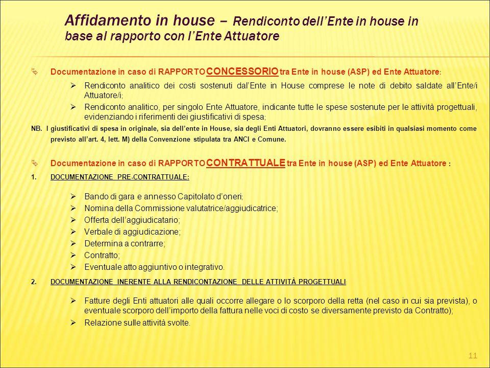 11 Documentazione in caso di RAPPORTO CONCESSORIO tra Ente in house (ASP) ed Ente Attuatore : Rendiconto analitico dei costi sostenuti dalEnte in Hous