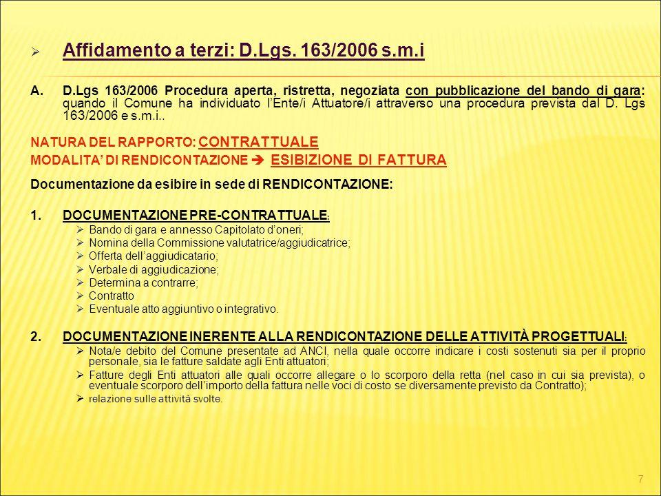 7 Affidamento a terzi: D.Lgs. 163/2006 s.m.i A.D.Lgs 163/2006 Procedura aperta, ristretta, negoziata con pubblicazione del bando di gara: quando il Co
