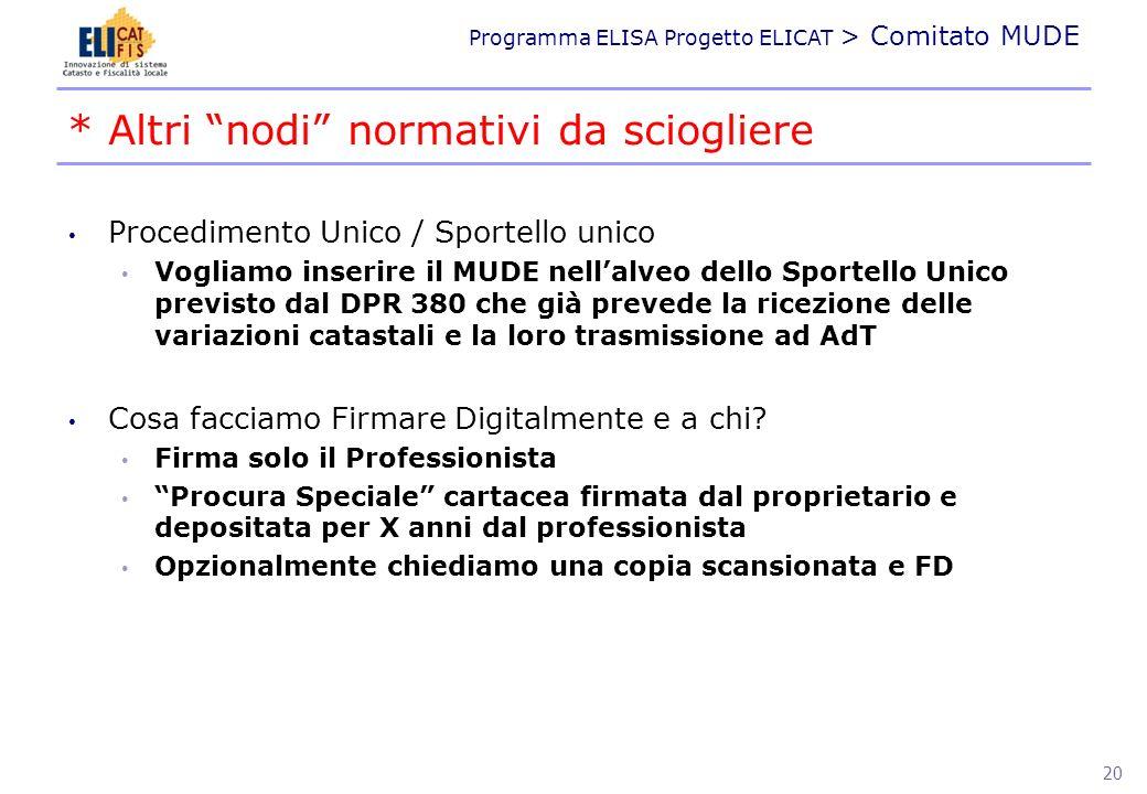 Programma ELISA Progetto ELICAT > Comitato MUDE Procedimento Unico / Sportello unico Vogliamo inserire il MUDE nellalveo dello Sportello Unico previst