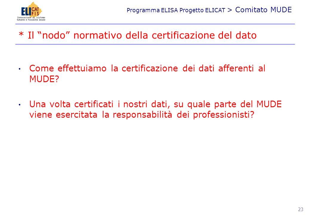 Programma ELISA Progetto ELICAT > Comitato MUDE Come effettuiamo la certificazione dei dati afferenti al MUDE? Una volta certificati i nostri dati, su