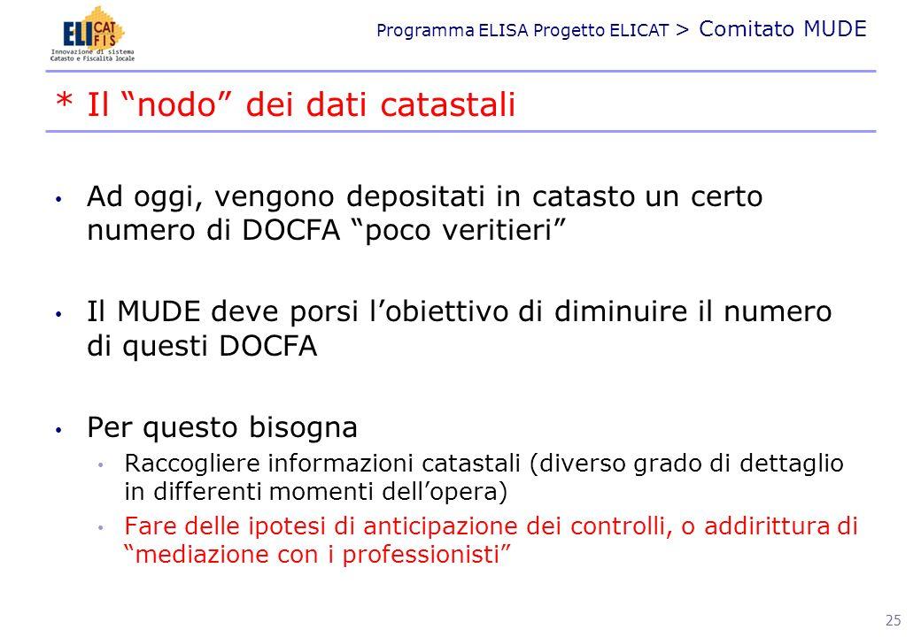 Programma ELISA Progetto ELICAT > Comitato MUDE Ad oggi, vengono depositati in catasto un certo numero di DOCFA poco veritieri Il MUDE deve porsi lobi