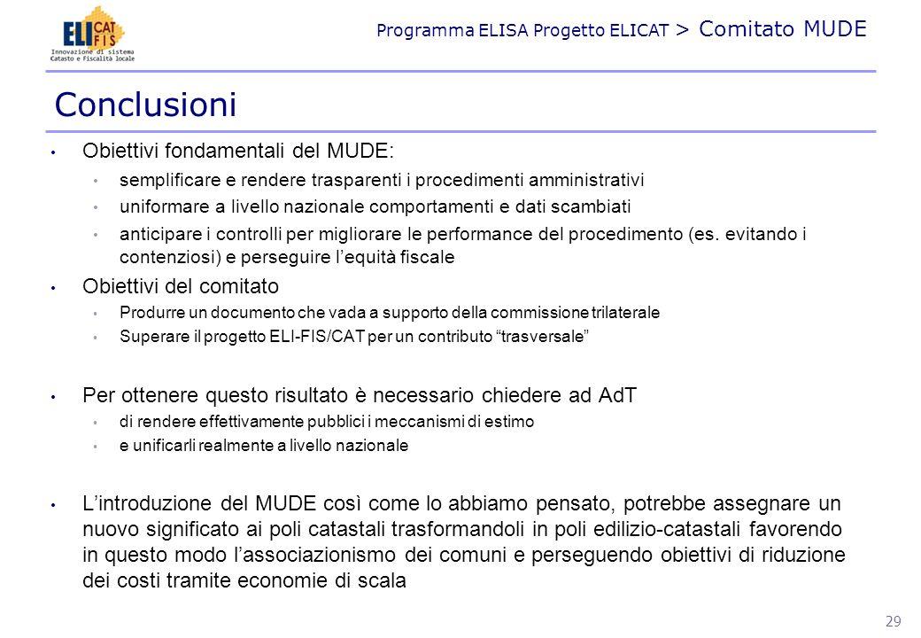 Programma ELISA Progetto ELICAT > Comitato MUDE Conclusioni Obiettivi fondamentali del MUDE: semplificare e rendere trasparenti i procedimenti amminis