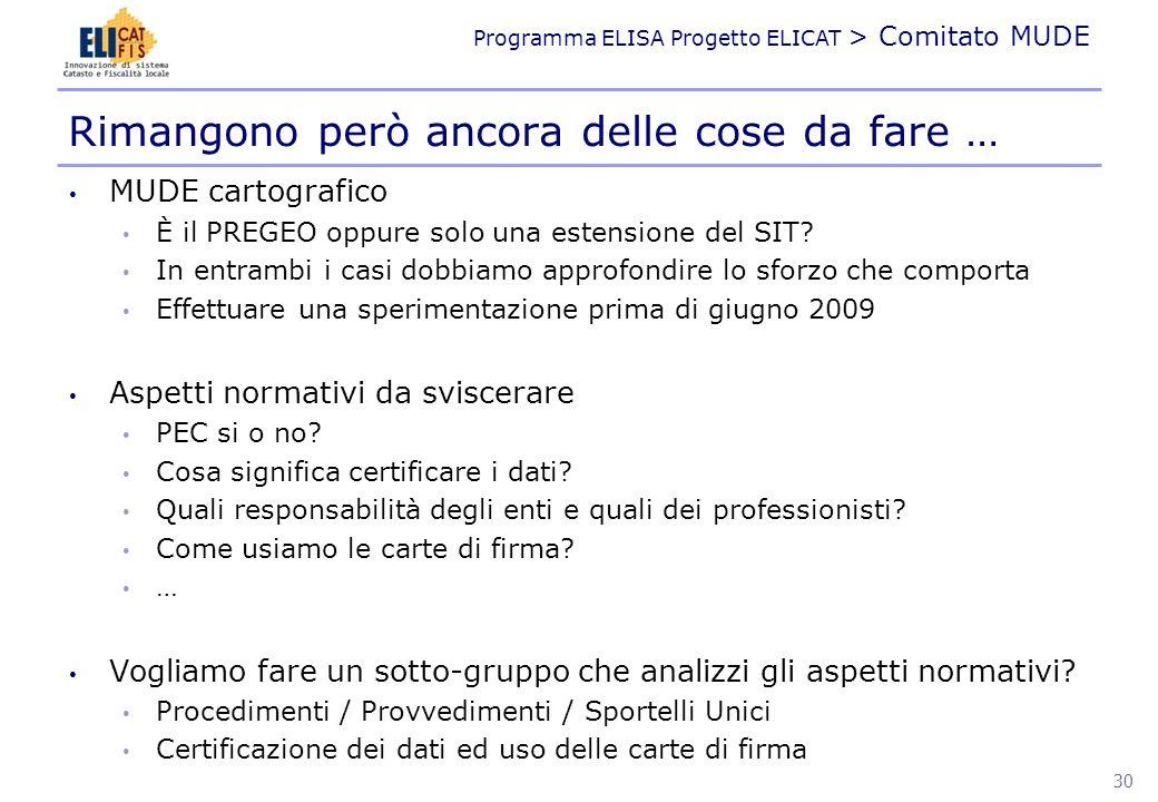 Programma ELISA Progetto ELICAT > Comitato MUDE MUDE cartografico È il PREGEO oppure solo una estensione del SIT? In entrambi i casi dobbiamo approfon