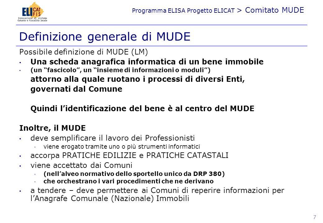 Programma ELISA Progetto ELICAT > Comitato MUDE Definizione generale di MUDE Possibile definizione di MUDE (LM) Una scheda anagrafica informatica di u