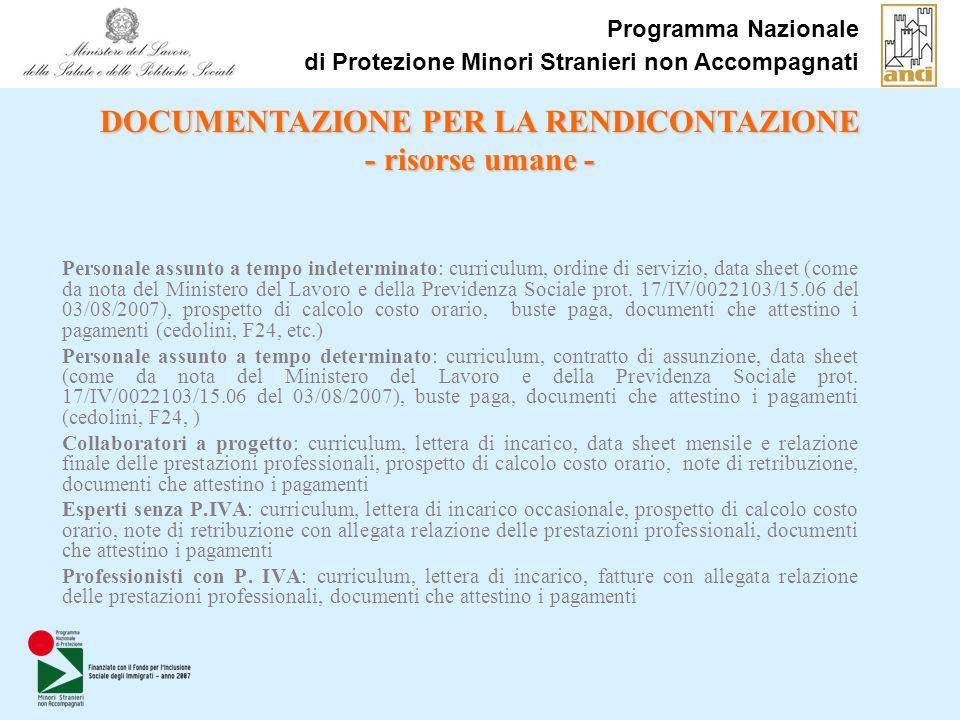 Programma Nazionale di Protezione Minori Stranieri non Accompagnati Personale assunto a tempo indeterminato: curriculum, ordine di servizio, data shee