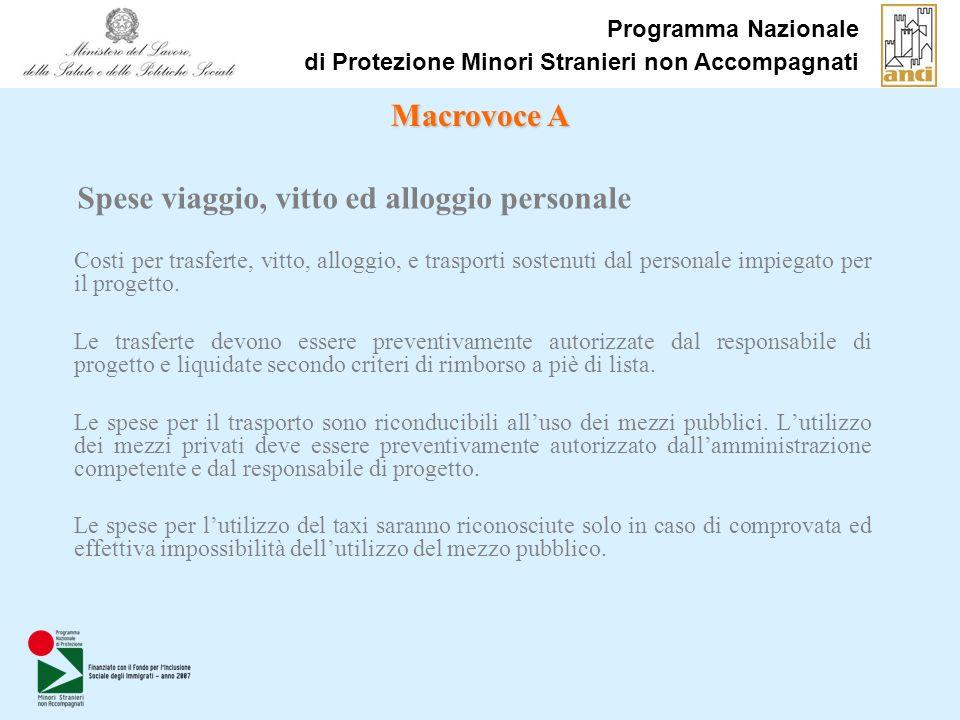Programma Nazionale di Protezione Minori Stranieri non Accompagnati Costi per trasferte, vitto, alloggio, e trasporti sostenuti dal personale impiegato per il progetto.