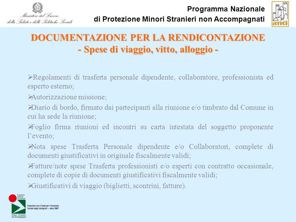 Programma Nazionale di Protezione Minori Stranieri non Accompagnati Regolamenti di trasferta personale dipendente, collaboratore, professionista ed es