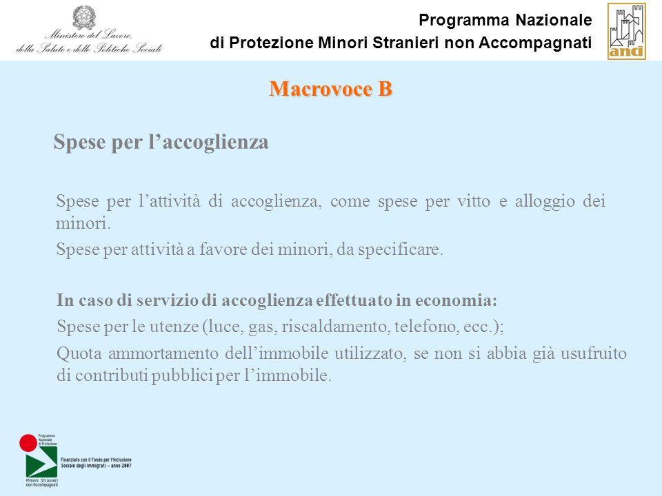 Programma Nazionale di Protezione Minori Stranieri non Accompagnati Spese per lattività di accoglienza, come spese per vitto e alloggio dei minori. Sp