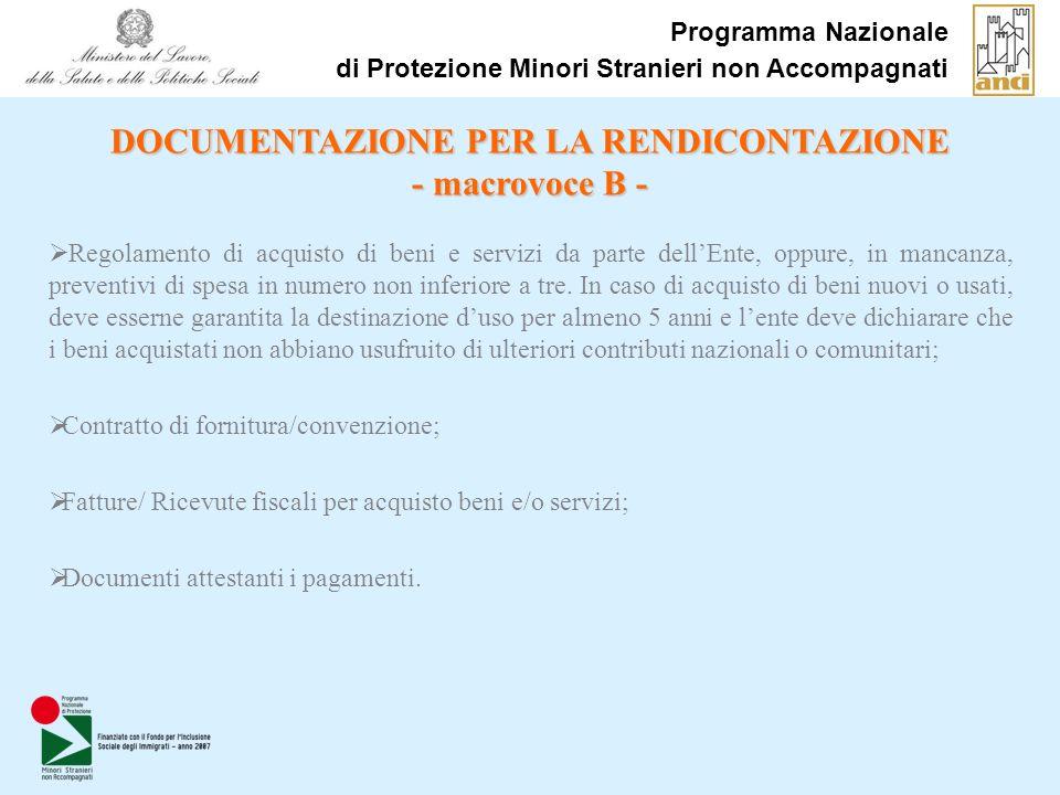 Programma Nazionale di Protezione Minori Stranieri non Accompagnati Regolamento di acquisto di beni e servizi da parte dellEnte, oppure, in mancanza, preventivi di spesa in numero non inferiore a tre.