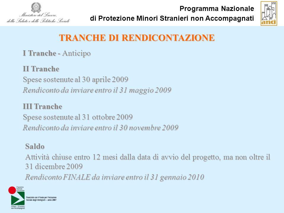 Programma Nazionale di Protezione Minori Stranieri non Accompagnati TRANCHE DI RENDICONTAZIONE II Tranche Spese sostenute al 30 aprile 2009 Rendiconto