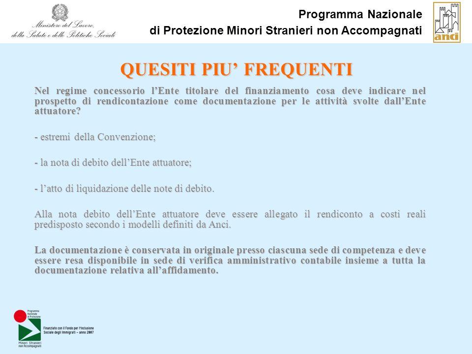 Programma Nazionale di Protezione Minori Stranieri non Accompagnati QUESITI PIU FREQUENTI Nel regime concessorio lEnte titolare del finanziamento cosa