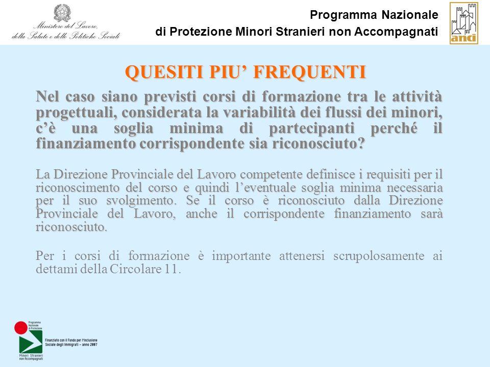 Programma Nazionale di Protezione Minori Stranieri non Accompagnati QUESITI PIU FREQUENTI Nel caso siano previsti corsi di formazione tra le attività
