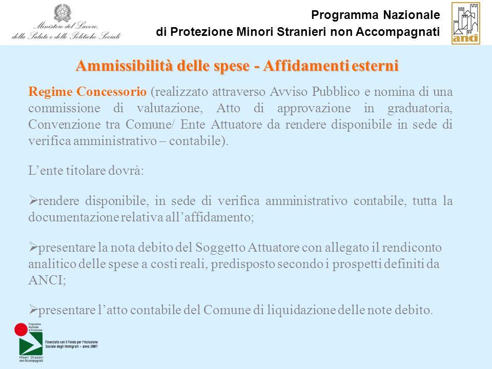 Programma Nazionale di Protezione Minori Stranieri non Accompagnati Ammissibilità delle spese - Affidamenti esterni Regime Concessorio (realizzato att