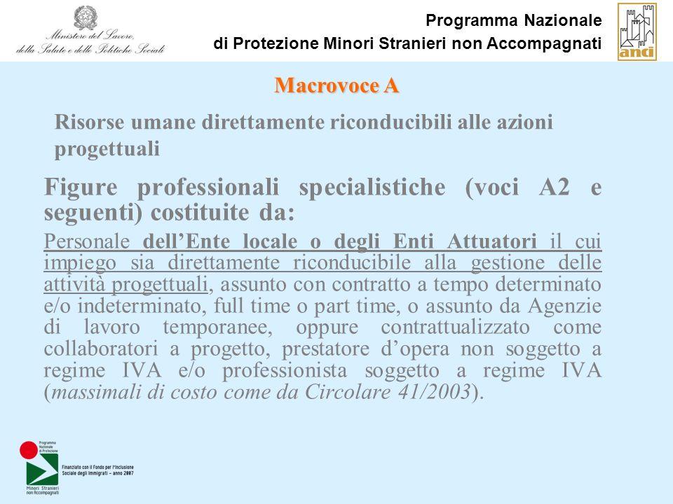 Programma Nazionale di Protezione Minori Stranieri non Accompagnati Figure professionali specialistiche (voci A2 e seguenti) costituite da: Personale