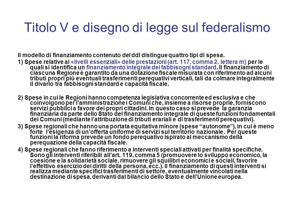 Titolo V e disegno di legge sul federalismo Il modello di finanziamento contenuto del ddl distingue quattro tipi di spesa.