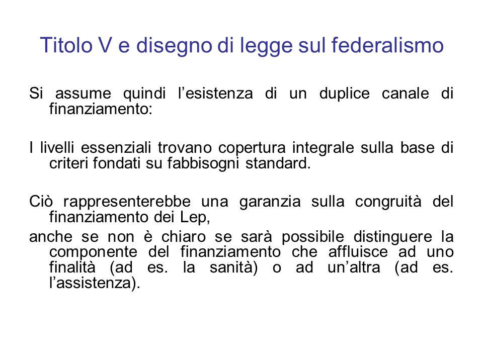 Titolo V e disegno di legge sul federalismo Si assume quindi lesistenza di un duplice canale di finanziamento: I livelli essenziali trovano copertura integrale sulla base di criteri fondati su fabbisogni standard.