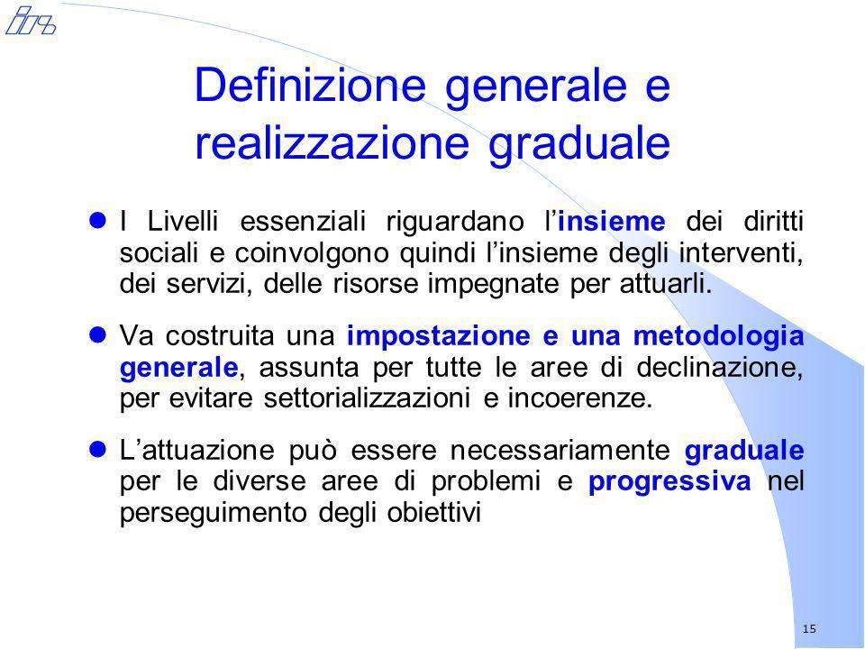 15 Definizione generale e realizzazione graduale lI Livelli essenziali riguardano linsieme dei diritti sociali e coinvolgono quindi linsieme degli int