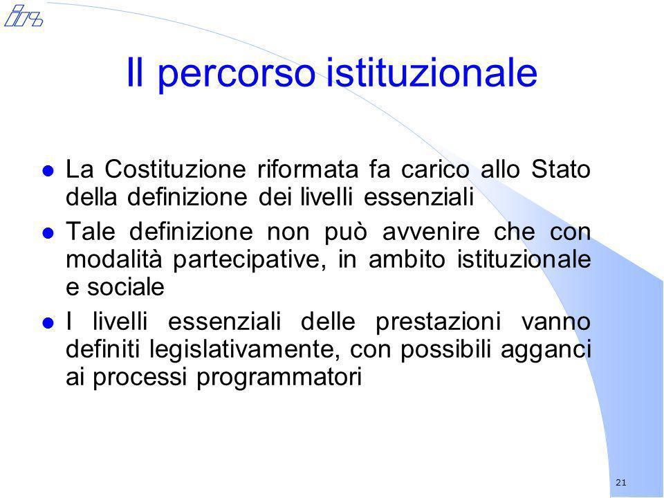 21 Il percorso istituzionale l La Costituzione riformata fa carico allo Stato della definizione dei livelli essenziali l Tale definizione non può avve