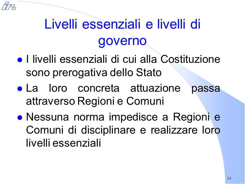 23 Livelli essenziali e livelli di governo l I livelli essenziali di cui alla Costituzione sono prerogativa dello Stato l La loro concreta attuazione