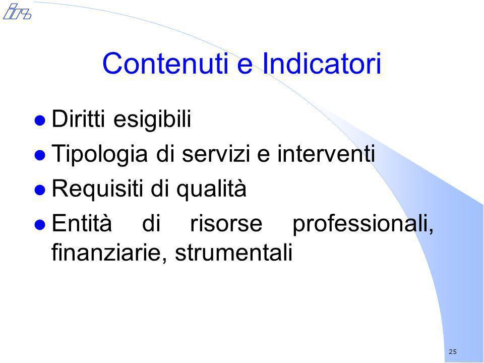 25 Contenuti e Indicatori l Diritti esigibili l Tipologia di servizi e interventi l Requisiti di qualità l Entità di risorse professionali, finanziari