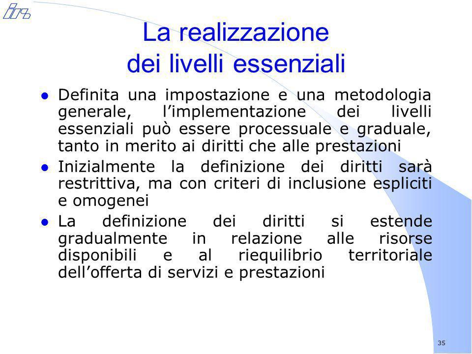 35 La realizzazione dei livelli essenziali l Definita una impostazione e una metodologia generale, limplementazione dei livelli essenziali può essere