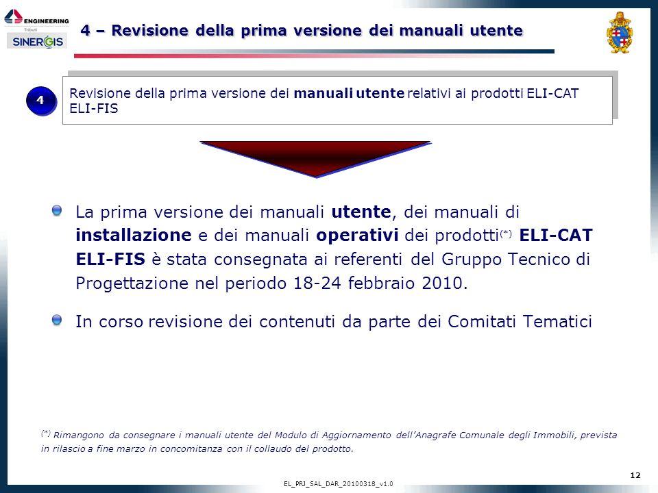 12 EL_PRJ_SAL_DAR_20100318_v1.0 4 – Revisione della prima versione dei manuali utente La prima versione dei manuali utente, dei manuali di installazio